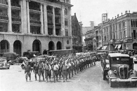 Japanese Soldiers March into Singapore